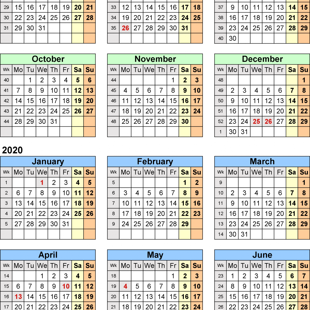 2019 Calendar Year At A Glance With Split Calendars 20 July To June For PDF UK Version