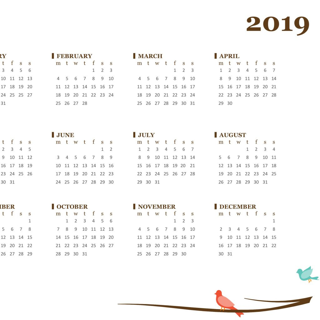 2019 Calendar Year At A Glance With Yearly Mon Sun