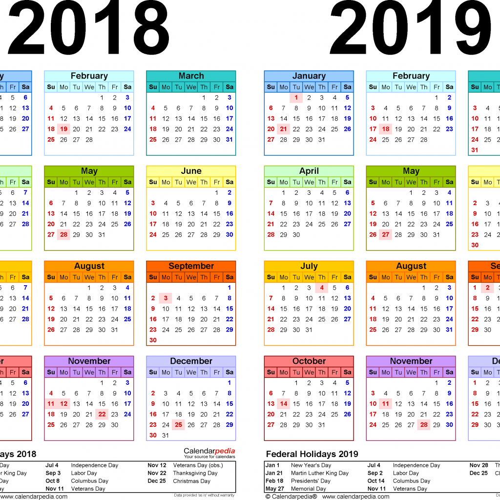 2019 Calendar Year To A Page With 2018 Free Printable Two PDF Calendars