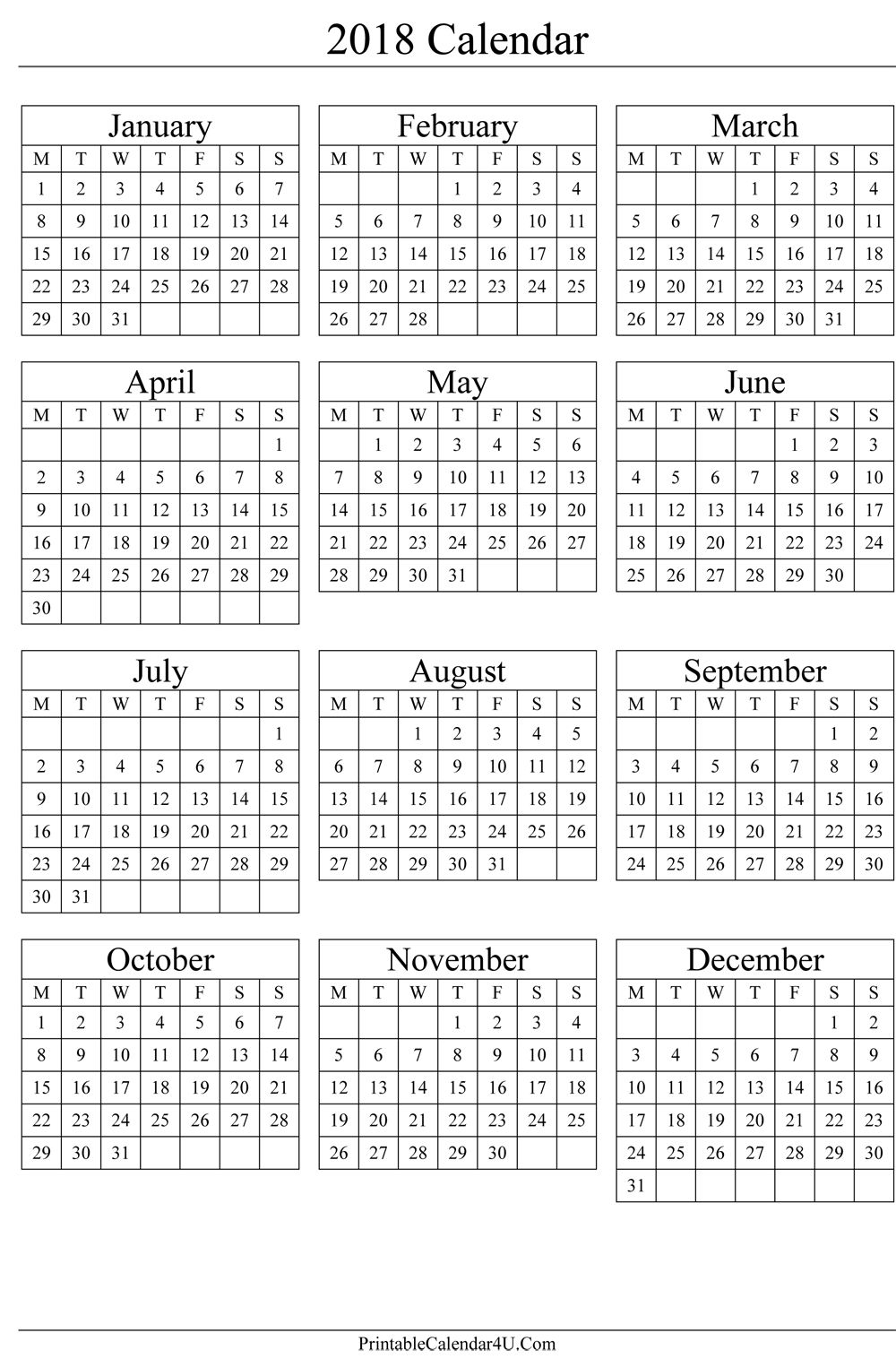 2019 Calendar Year To A Page With Annual 2018 Portrait Printable 2017