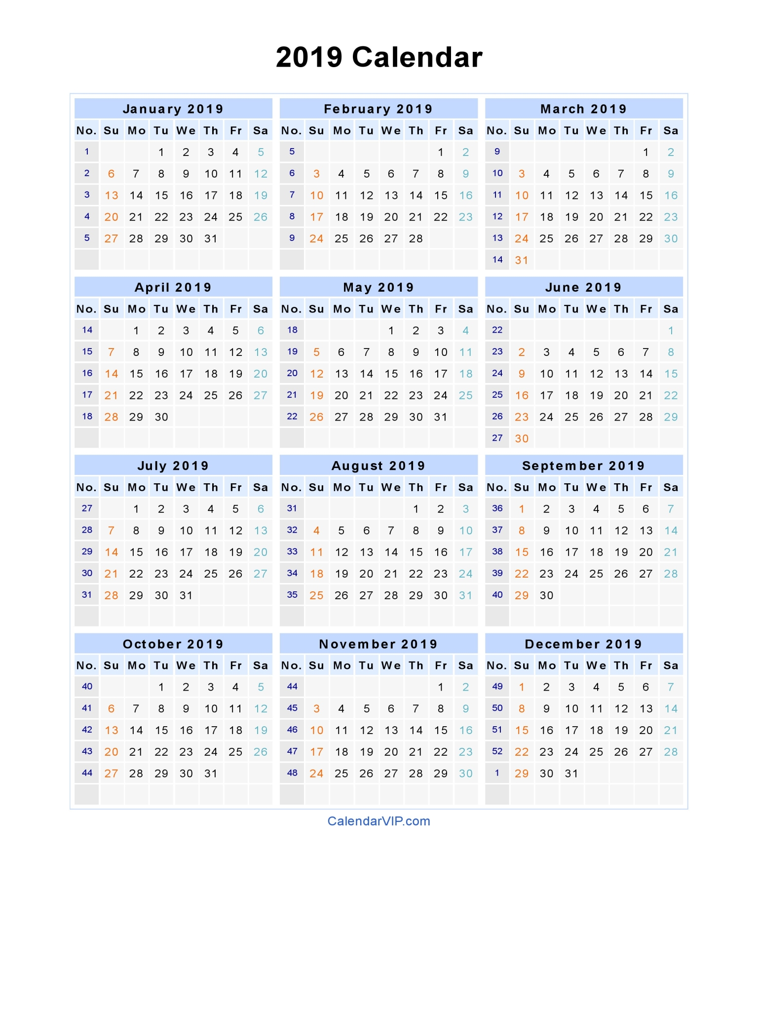 2019 Calendar Year To A Page With Blank Printable Template In PDF Word Excel