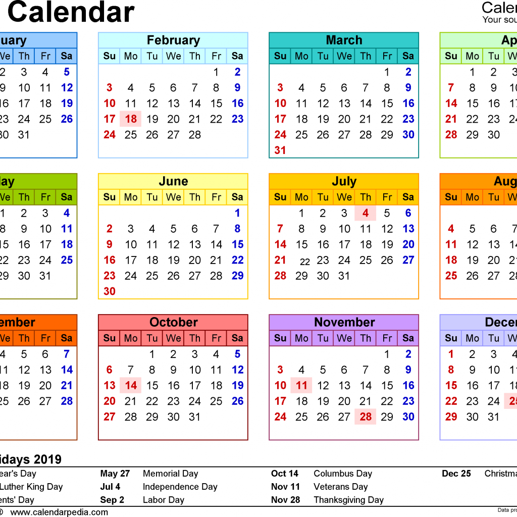2019 Calendar Year To A Page With Download 17 Free Printable Excel Templates Xlsx