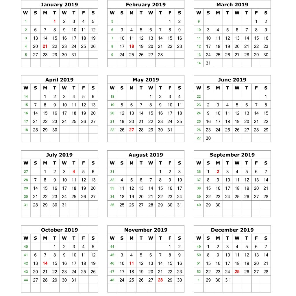 2019 Calendar Year To A Page With Download Blank 12 Months On One Vertical