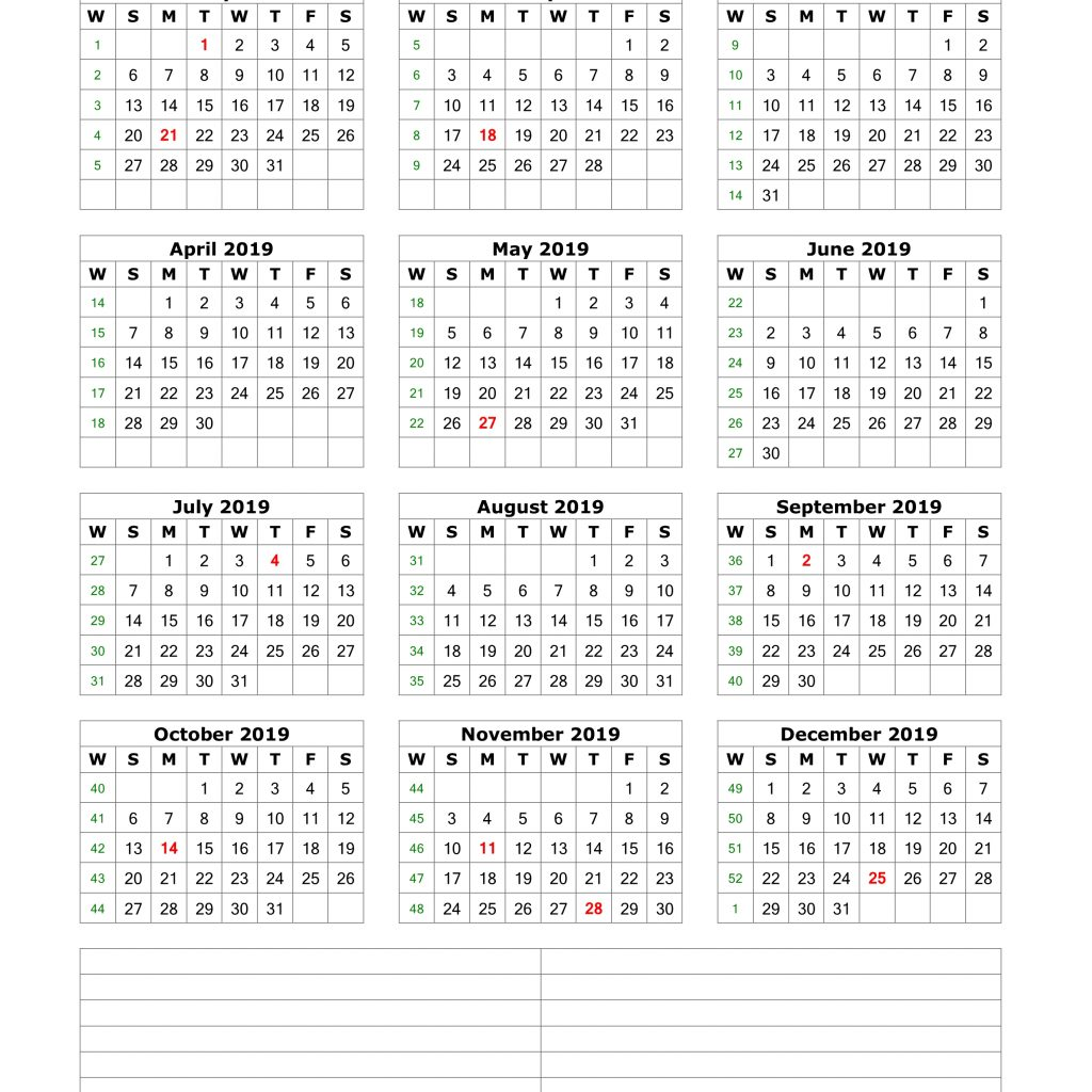 2019 Calendar Year To A Page With Download Blank Space For Notes 12 Months On One