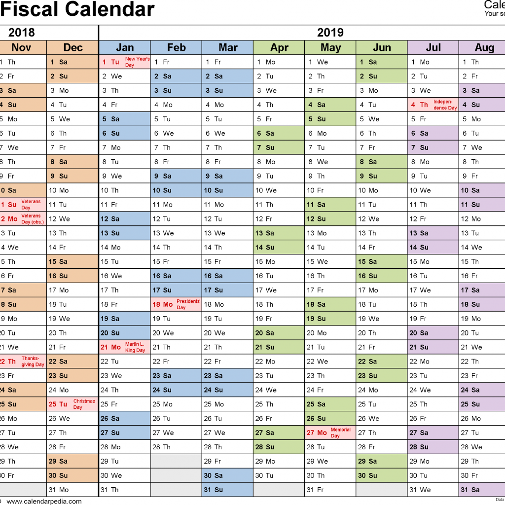 2019 Calendar Year To A Page With Fiscal Calendars As Free Printable Word Templates