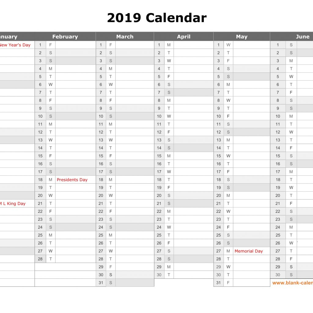 2019 Calendar Year To A Page With Free Download Printable Month In Column Half
