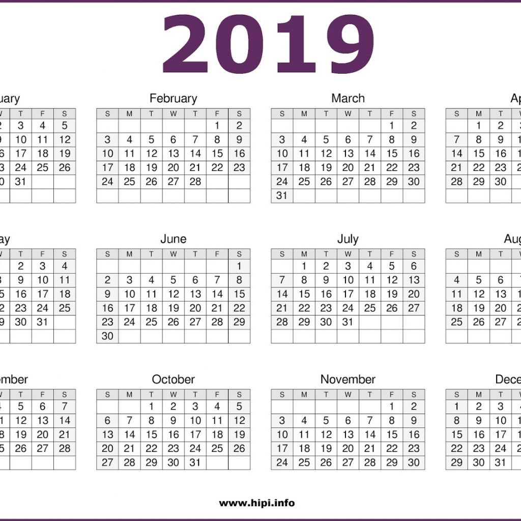 2019 Calendar Year To A Page With Get Free One Printable October 2018