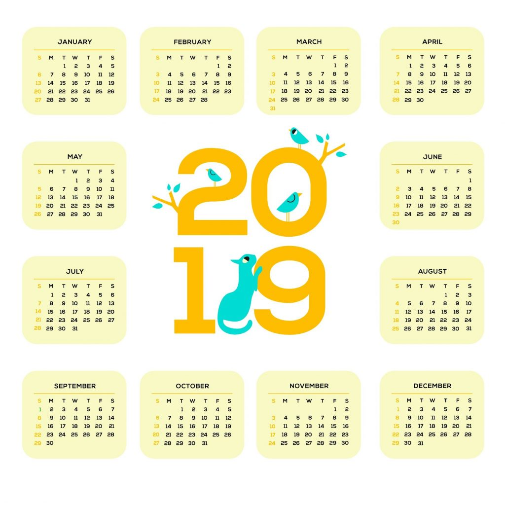2019 Calendar Year To A Page With Printable One Monthly Templates