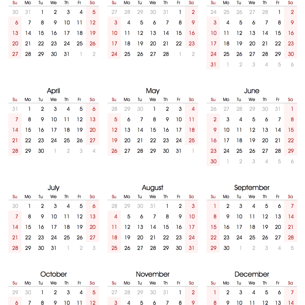 2019 Calendar Year To A Page With Printable Templates Online