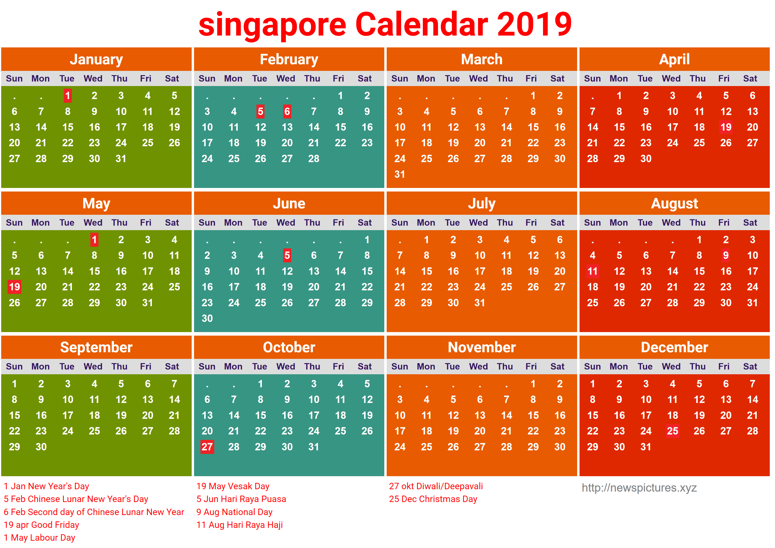 2019 Chinese New Year Calendar Singapore With Download Free Blank School Holidays July