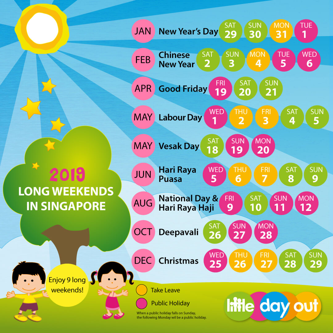2019 Chinese New Year Calendar Singapore With Public Holidays School Little Day Out