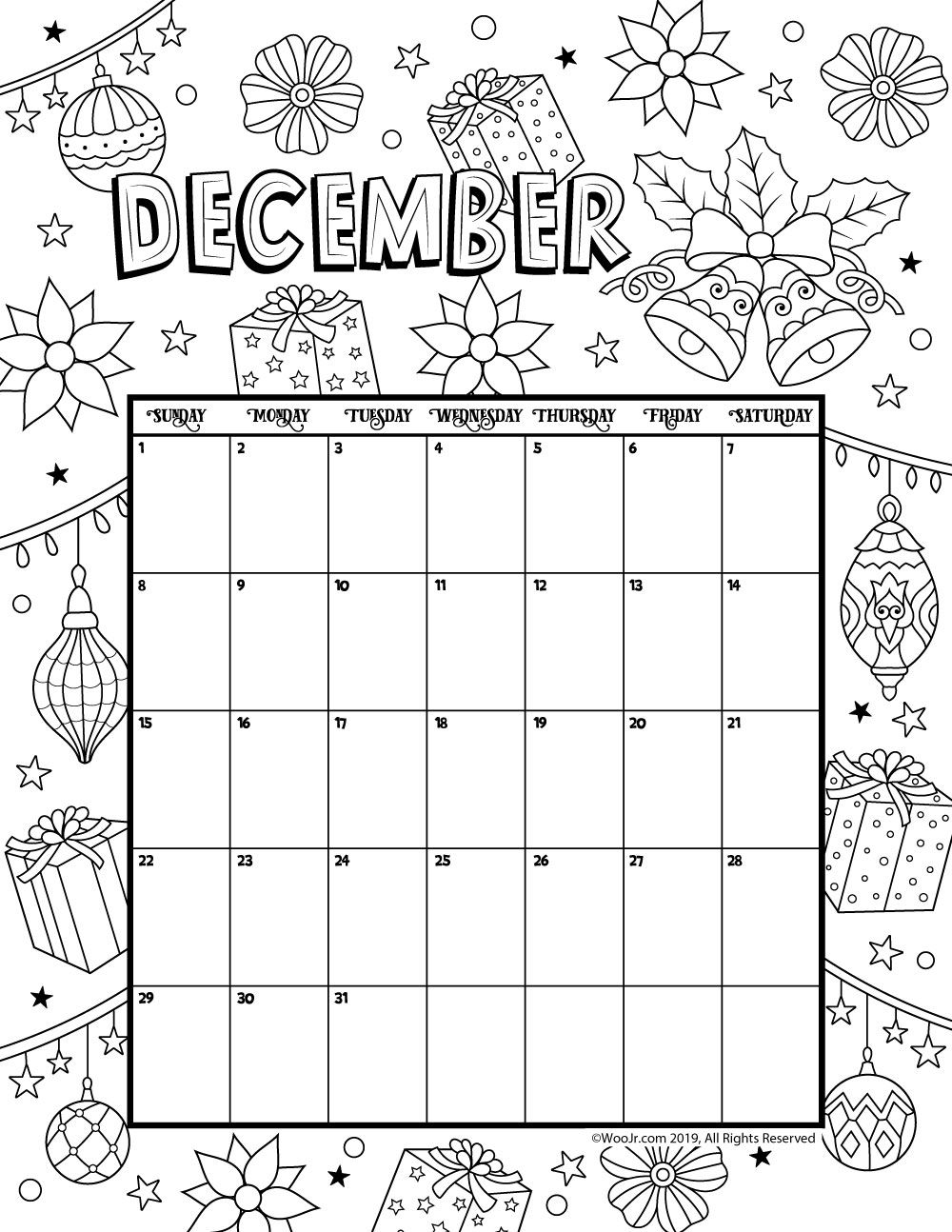 2019 Coloring Calendar With December Calender Pinterest