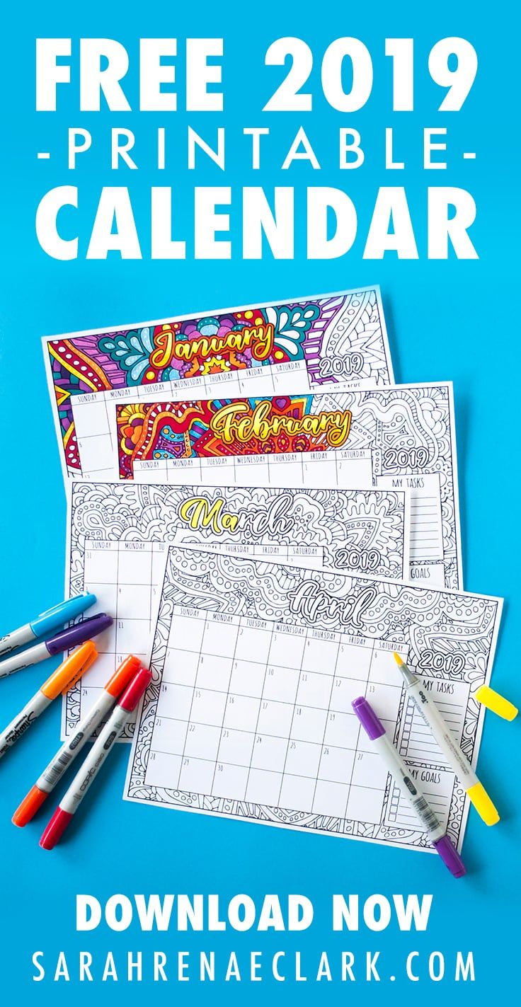 2019 Coloring Calendar With Free Printable By Sarah Renae Clark