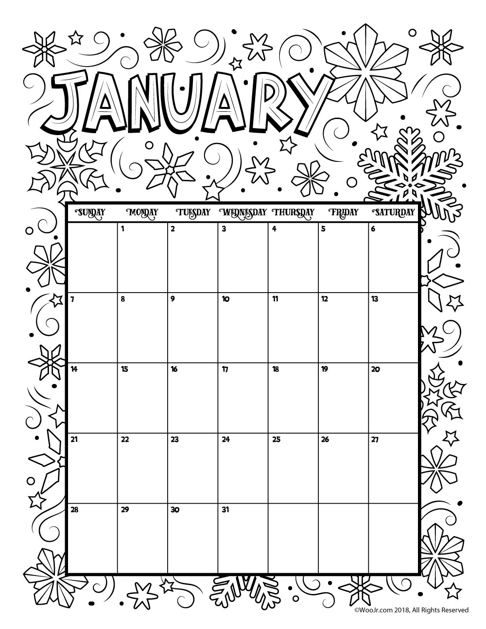 2019 Coloring Calendar With Happy New Year Pages Hd Printable Photos Images
