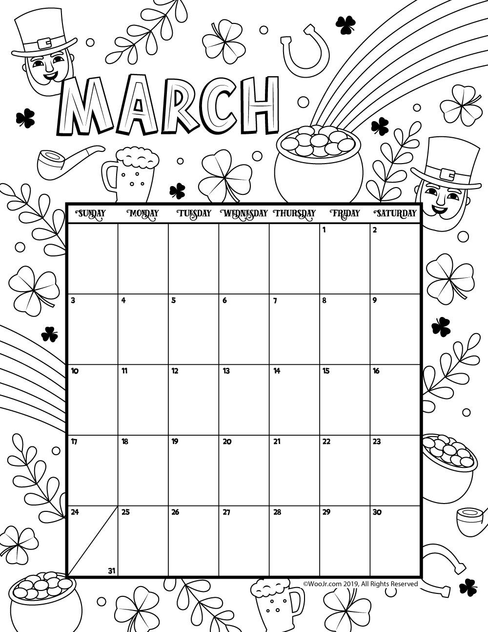 2019 Coloring Calendar With March Calender Pinterest