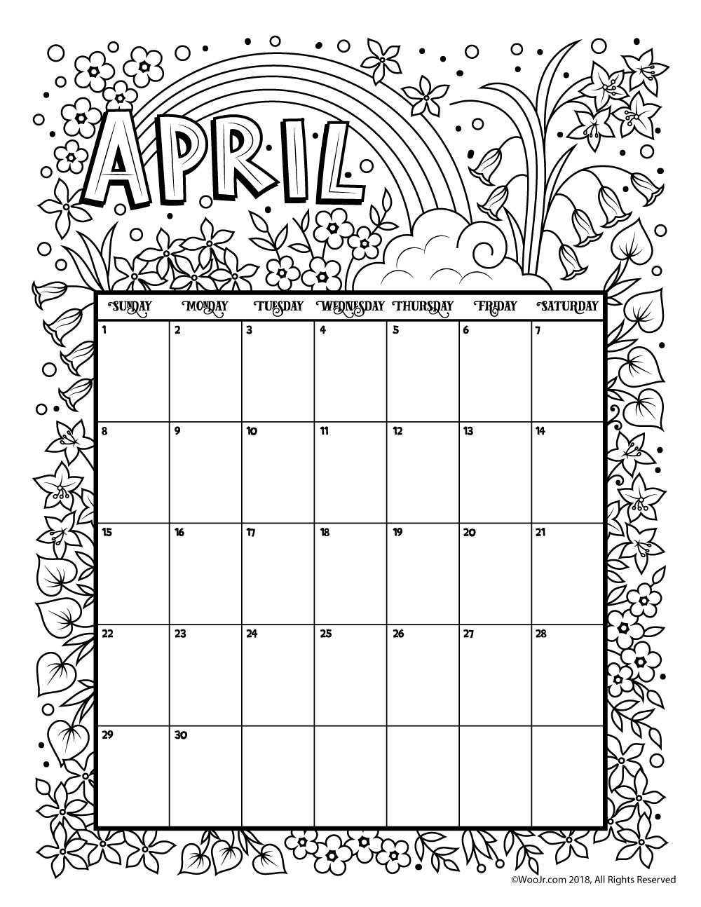 2019 Coloring Calendar With Printable April 2018 Page Get