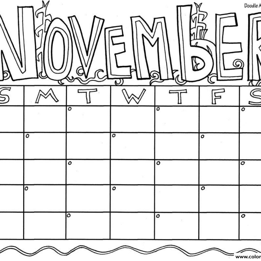 2019 Coloring Calendar With Printable Color November Pages
