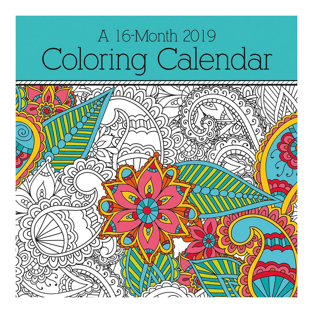2019 Coloring Wall Calendar With Book Trends International Multi