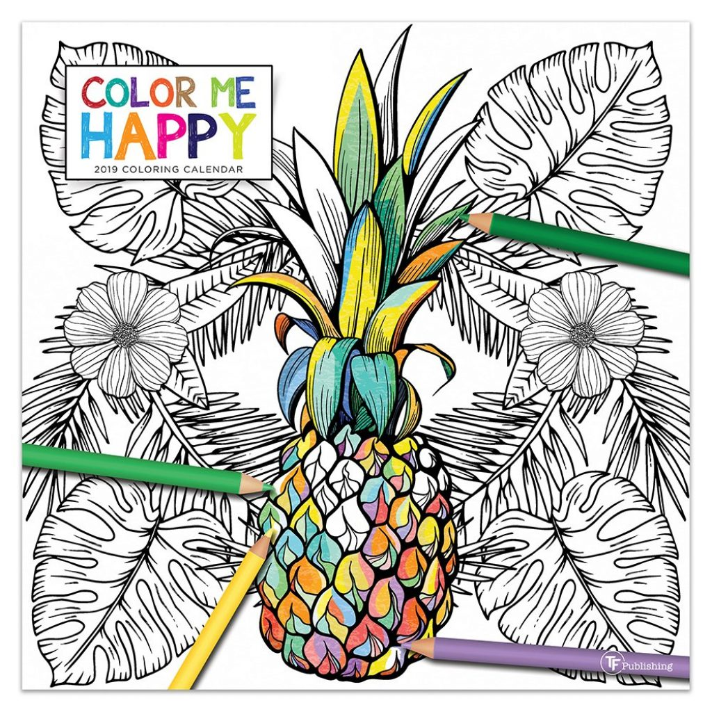2019 Coloring Wall Calendar With Color Me Happy 9781683754947 Amazon Com Books