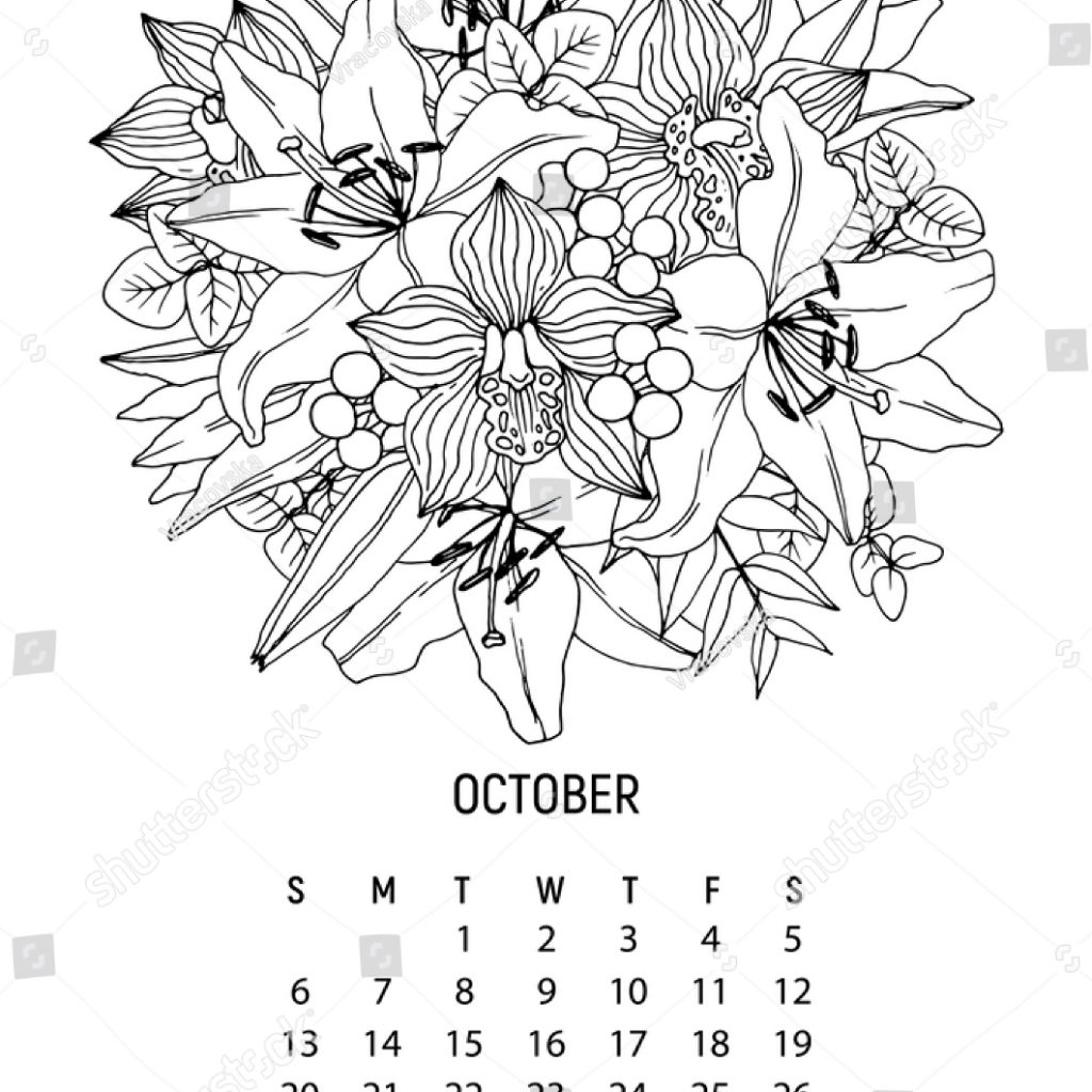 2019 Coloring Wall Calendar With Flower Bouquet Page 10 Stock Vector Royalty Free