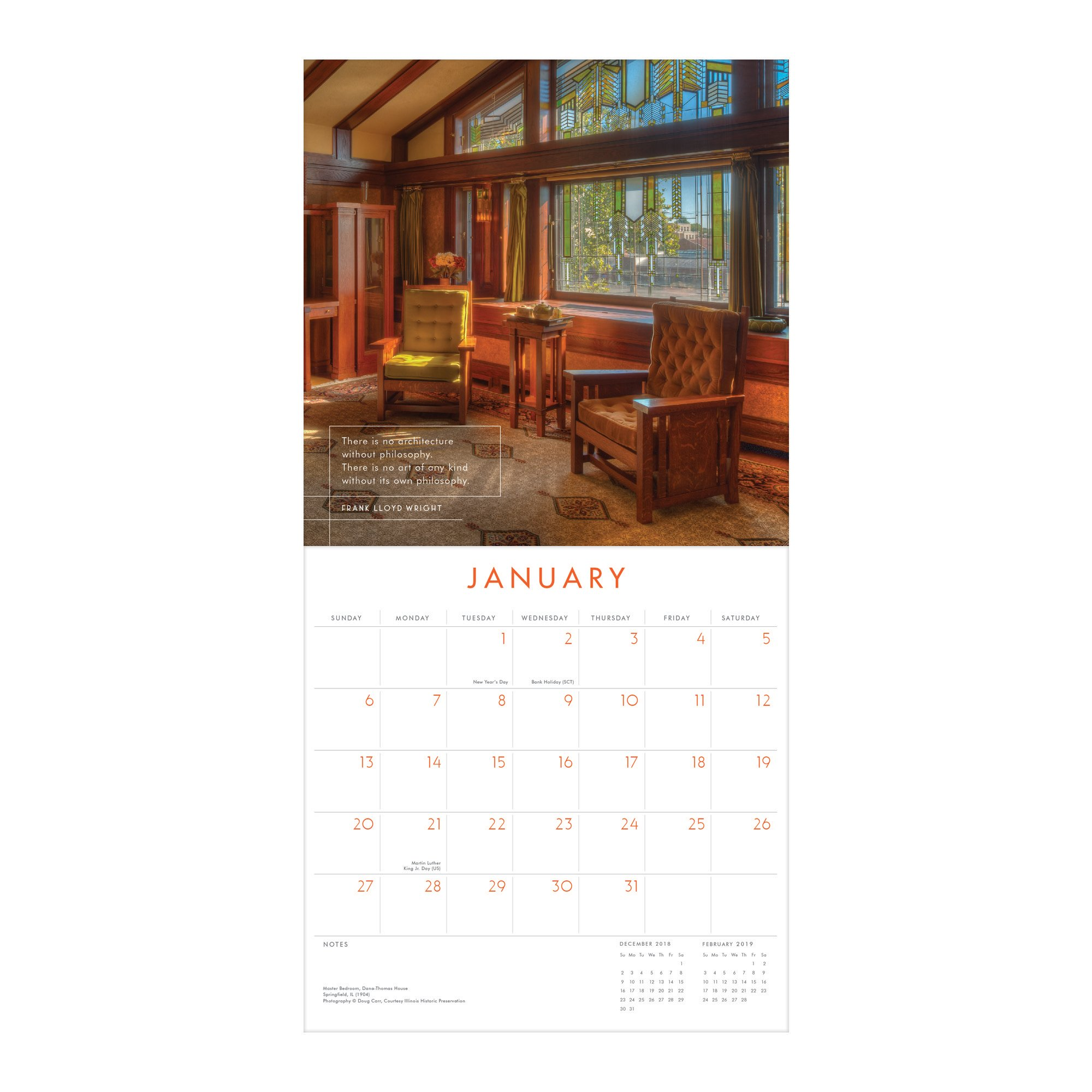 2019 Coloring Wall Calendar With Frank Lloyd Wright