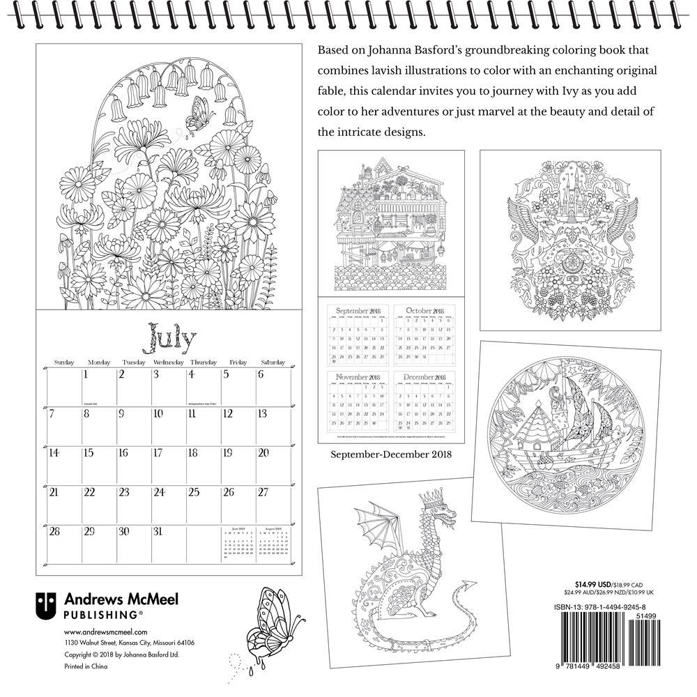 2019 Coloring Wall Calendar With Ivy And The Inky Butterfly Basford
