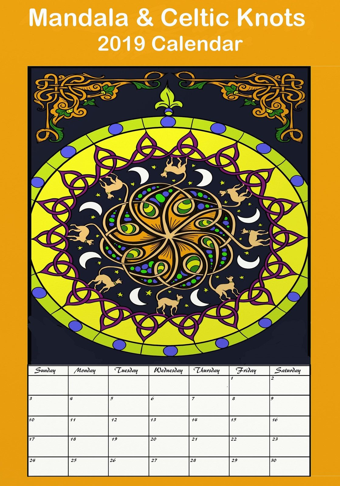 2019 Coloring Wall Calendar With Mandala Celtic Knots Adult Hang Vol 2