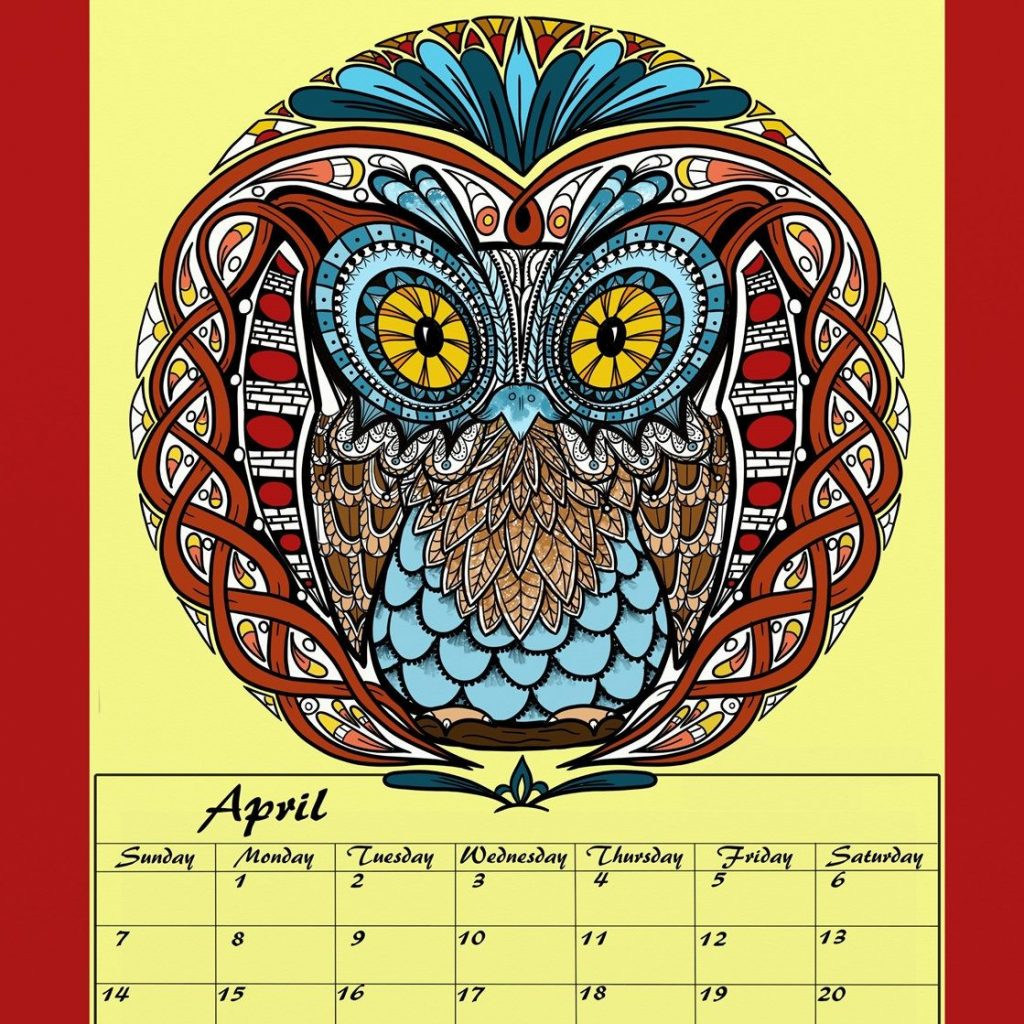 2019 Coloring Wall Calendar With Mandalas And Patterns Adult Vol 2 A4 Wire