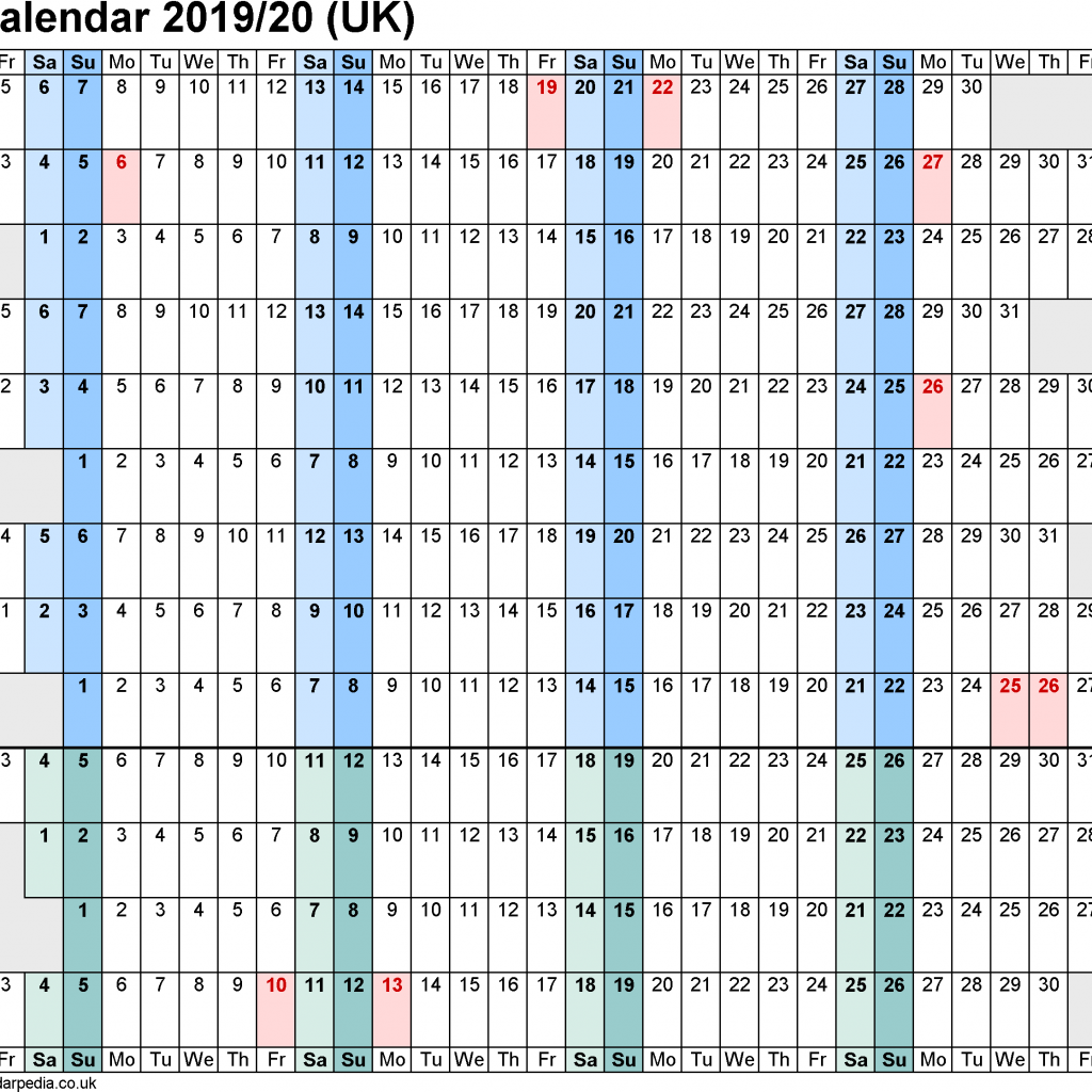 2019 Financial Year Calendar With Calendars 20 UK In PDF Format