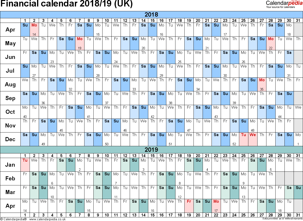 2019 Financial Year Calendar With Calendars 2018 19 UK In PDF Format