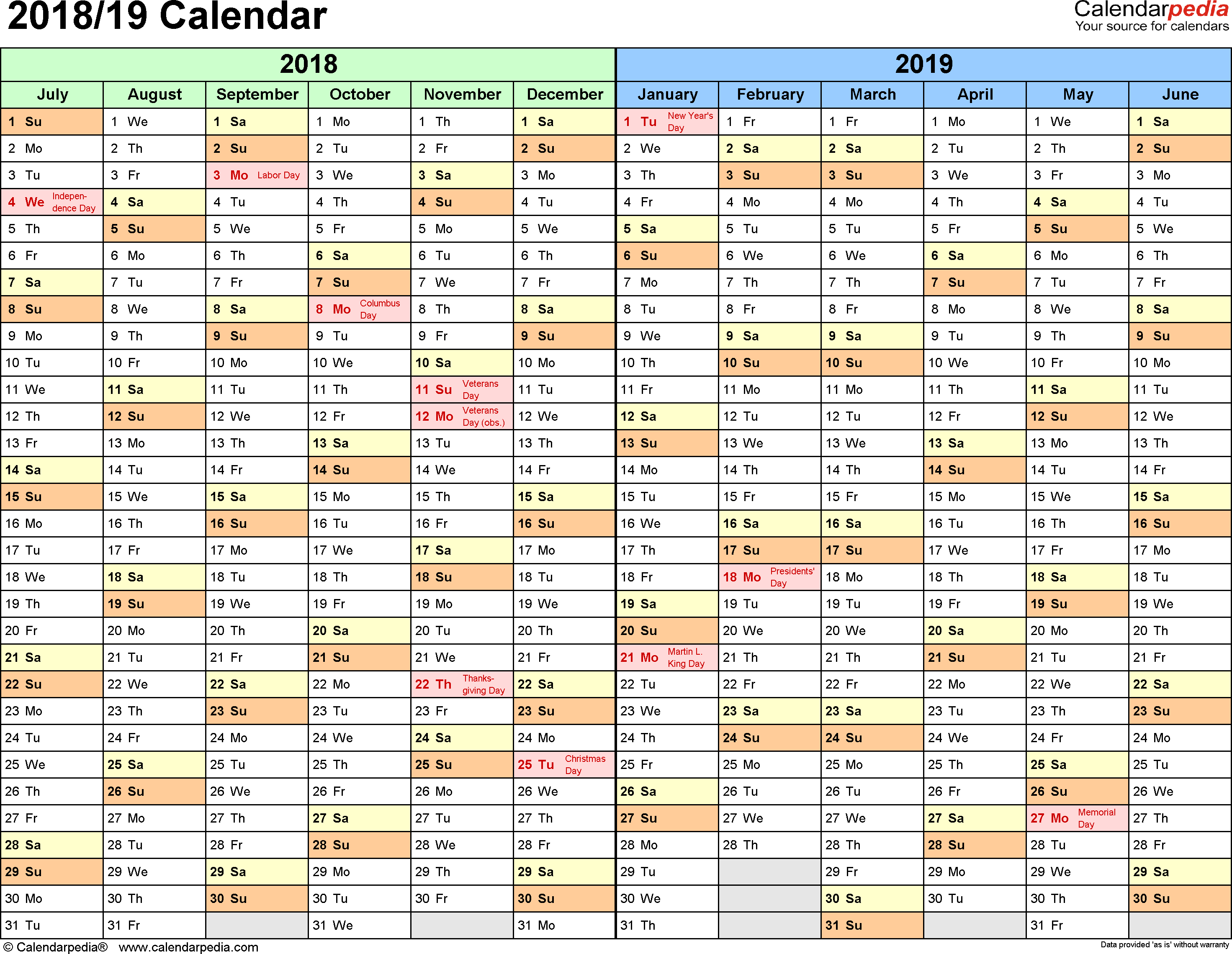 2019 Financial Year Calendar With Split 2018 19 July To June PDF Templates