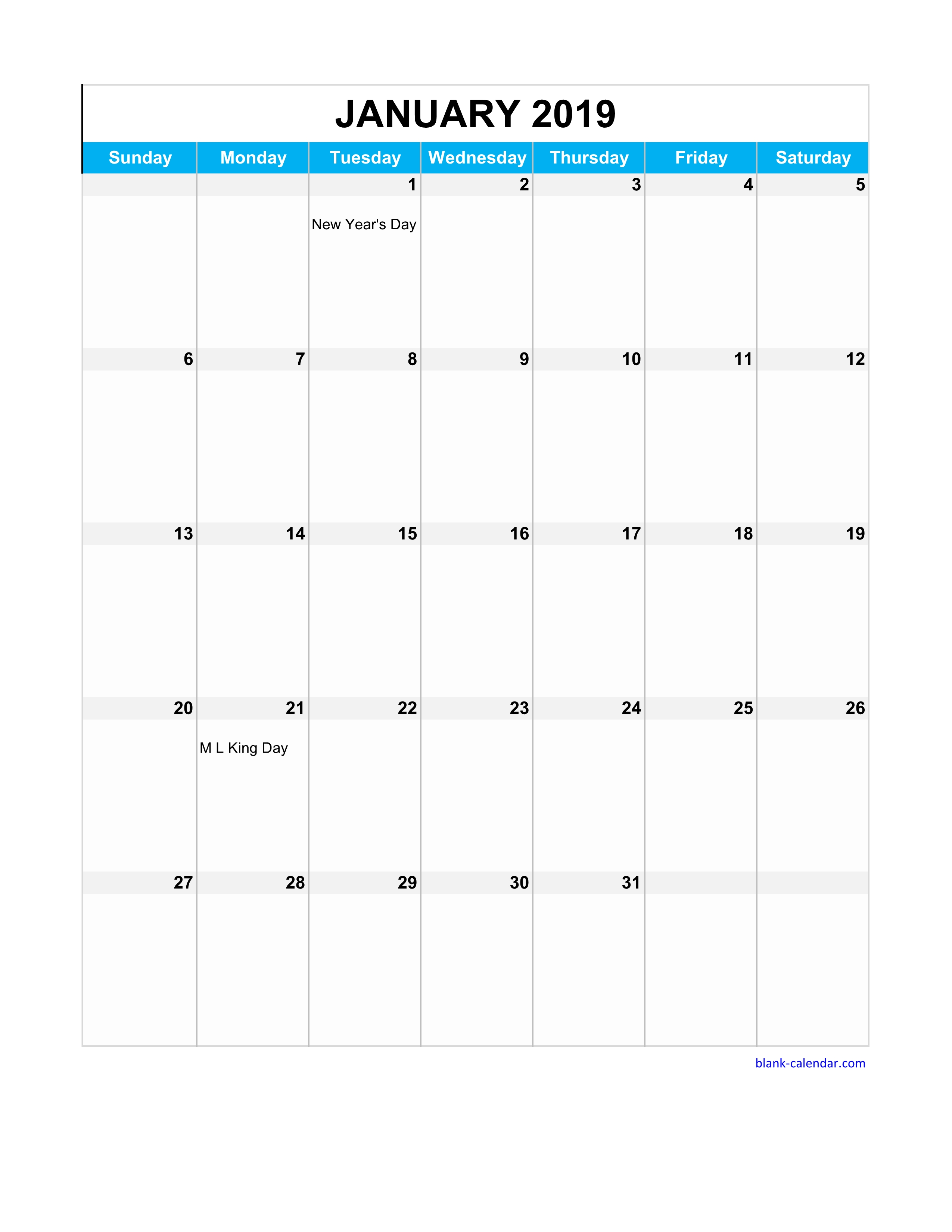 2019 Full Year Calendar Excel With Free Download Page Table Grid US Holidays
