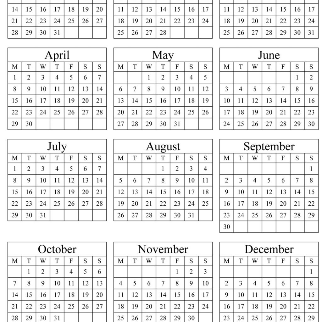 2019 Full Year Calendar Excel With Free Yearly Printable PDF Word Public