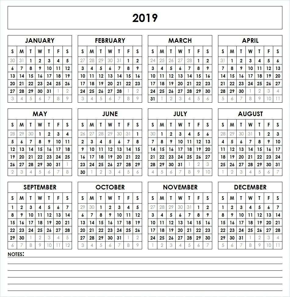 2019 Full Year Calendar Excel With Get Free Printable Template December 2018