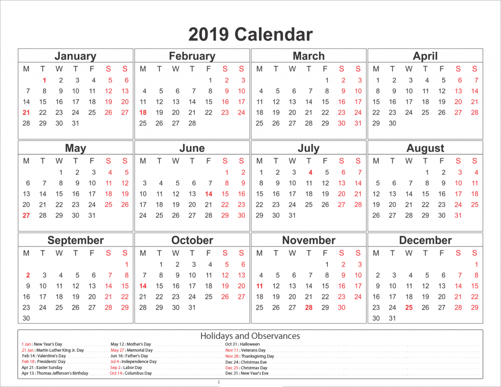 2019 Full Year Calendar Template Excel With Get Printable Free One Page November 2018