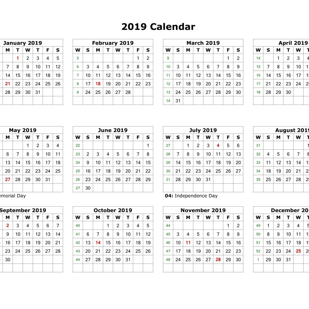 2019 Full Year Calendar Template Excel With Malaysia PDF Word December