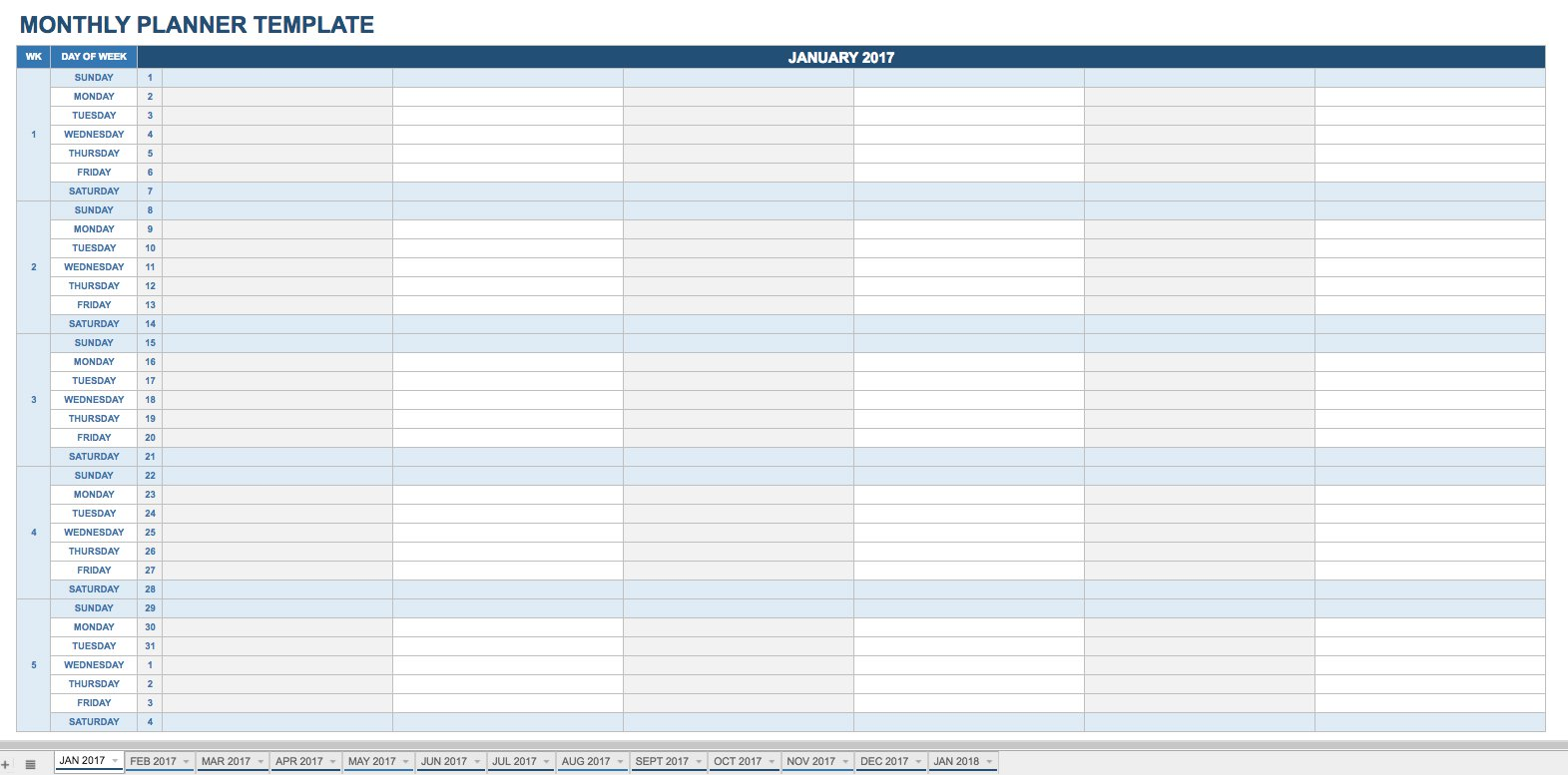 2019 Full Year Calendar Template Smartsheet With 15 Free Monthly Templates