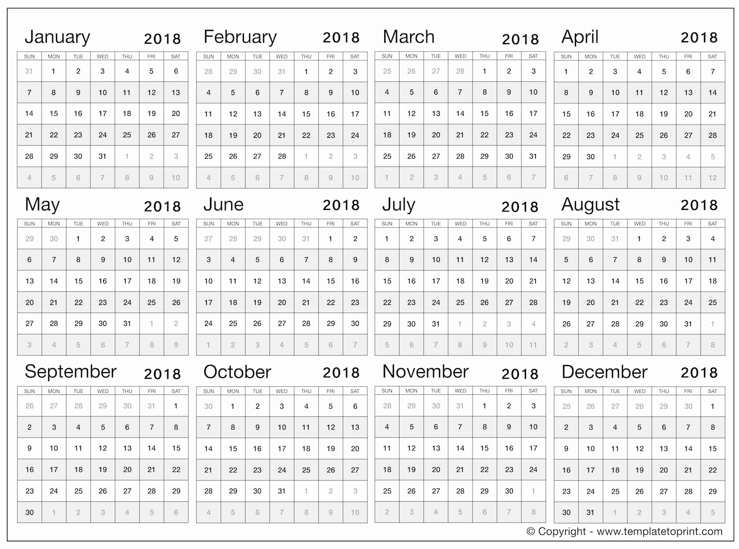 2019 Full Year Calendar Template Smartsheet With 2018 Yearly Excel Free Blank Templates