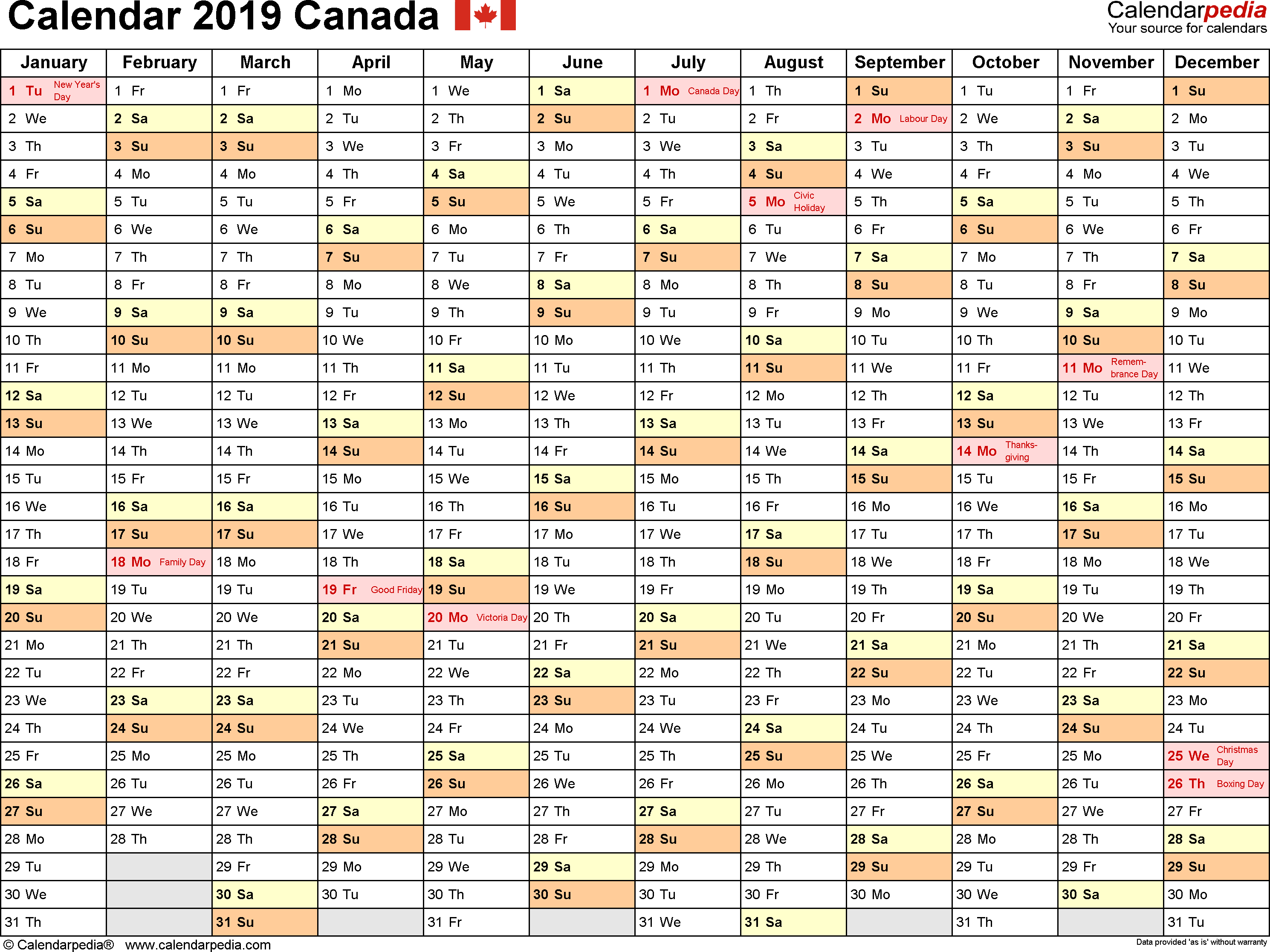 2019 Full Year Calendar Template Smartsheet With Canada Free Printable Excel Templates