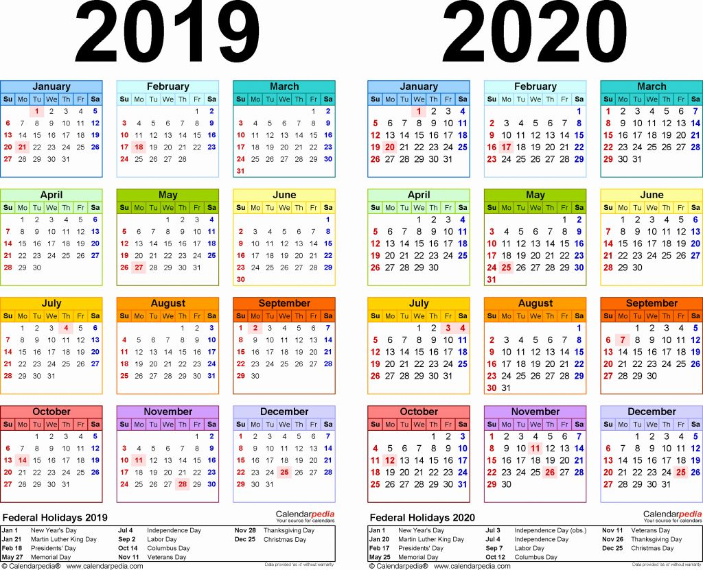 2019 Full Year Calendar Template Smartsheet With Monthly Payroll Free Blank Templates