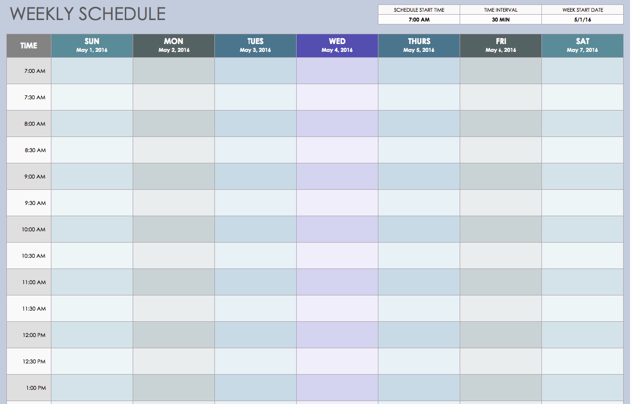 2019 Full Year Calendar Template Smartsheet With Weekly Excel Free Schedule Templates For