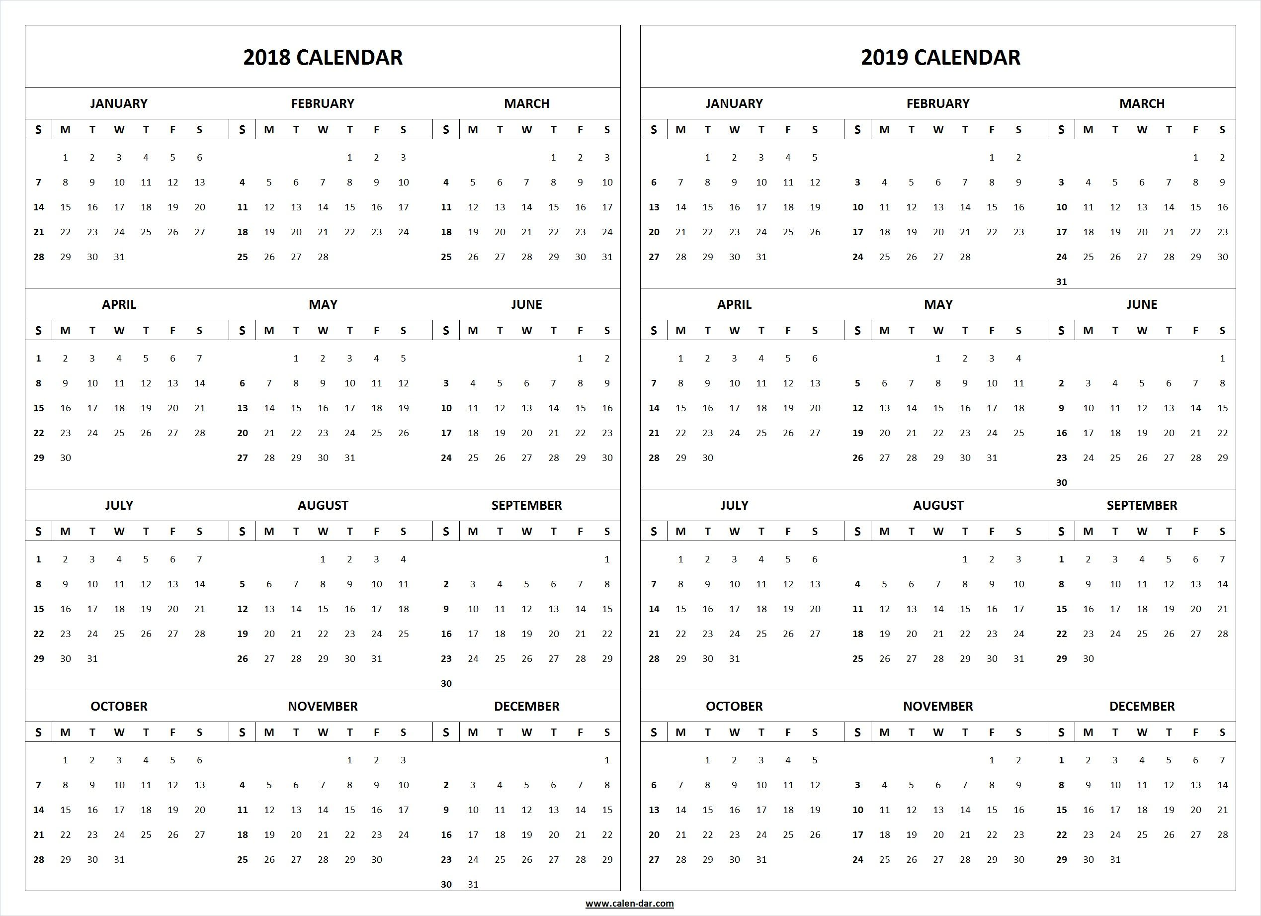 2019 Full Year Calendar Template With 2018 Yearly Pinterest