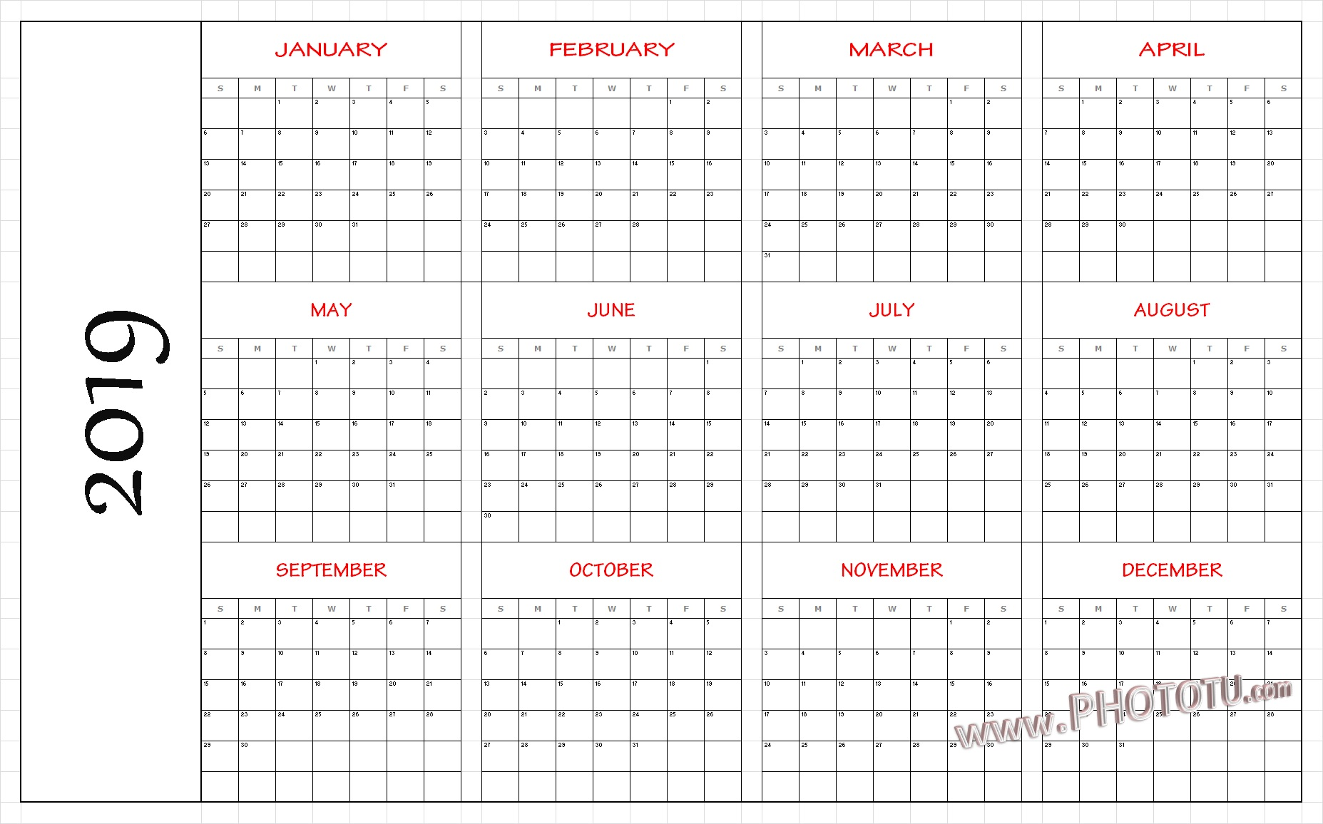 2019 Full Year Calendar Template With Download Yearly UAE Dubai Holidays