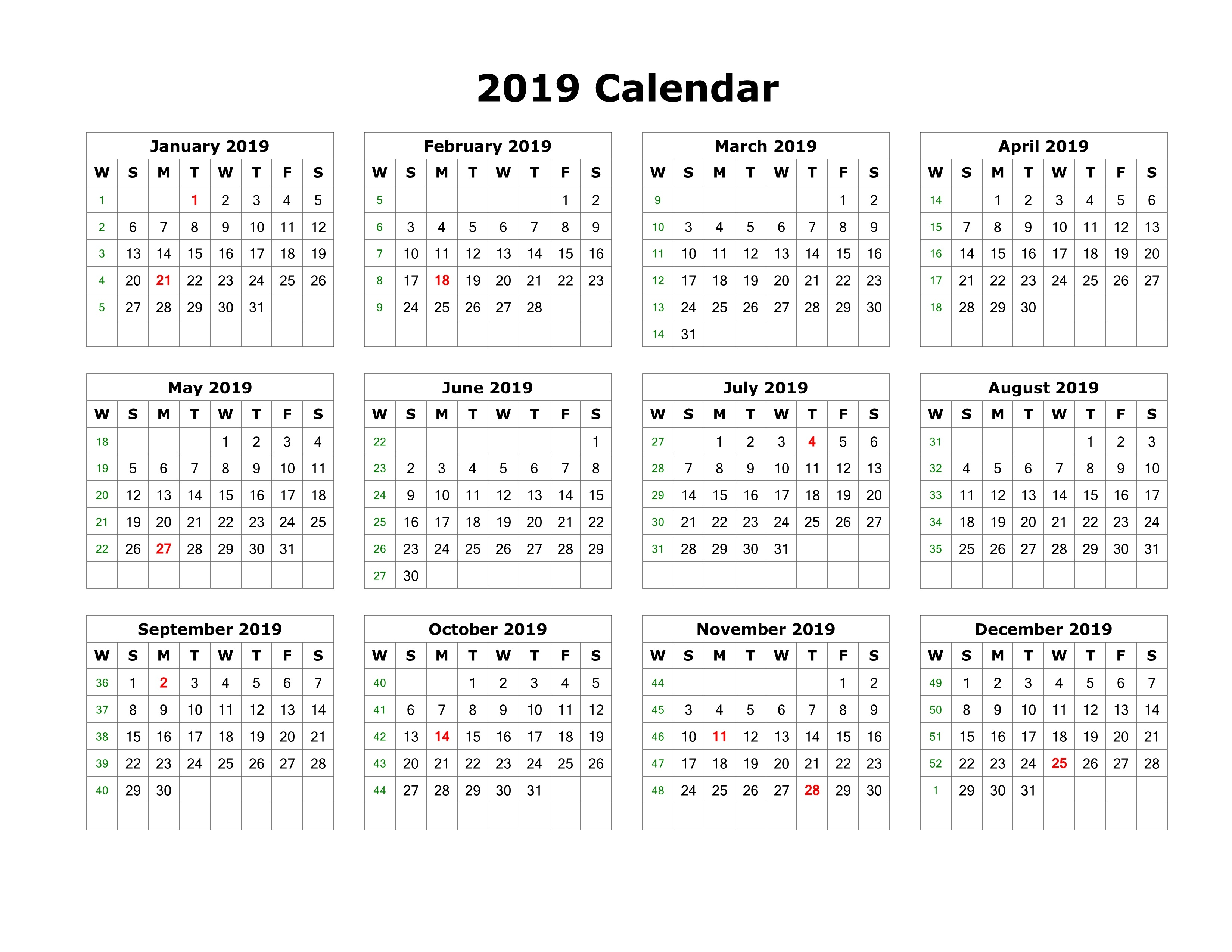 2019 Full Year Calendar Template With Get Yearly UAE Dubai Holidays Download