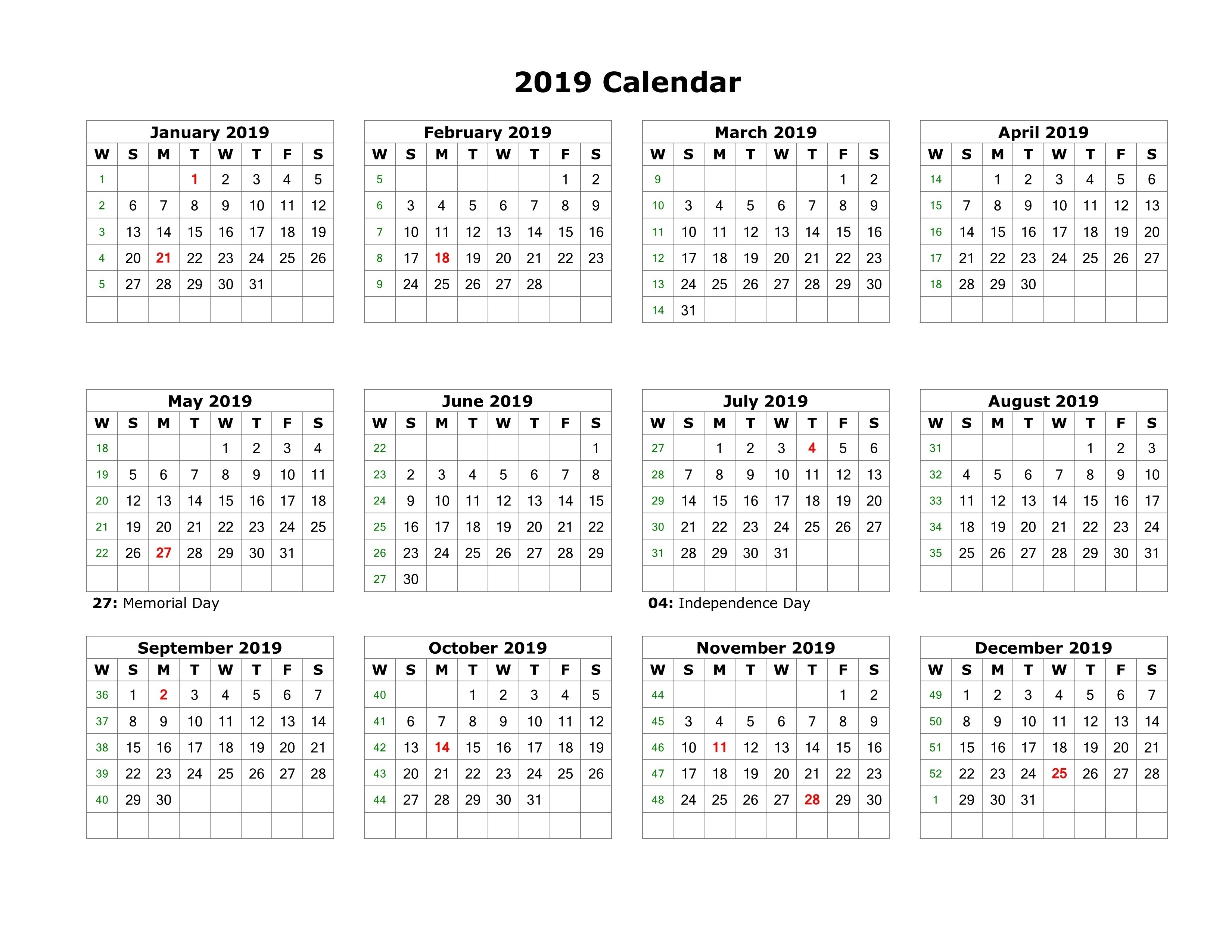 2019 Full Year Calendar Template With Malaysia PDF Excel Word December
