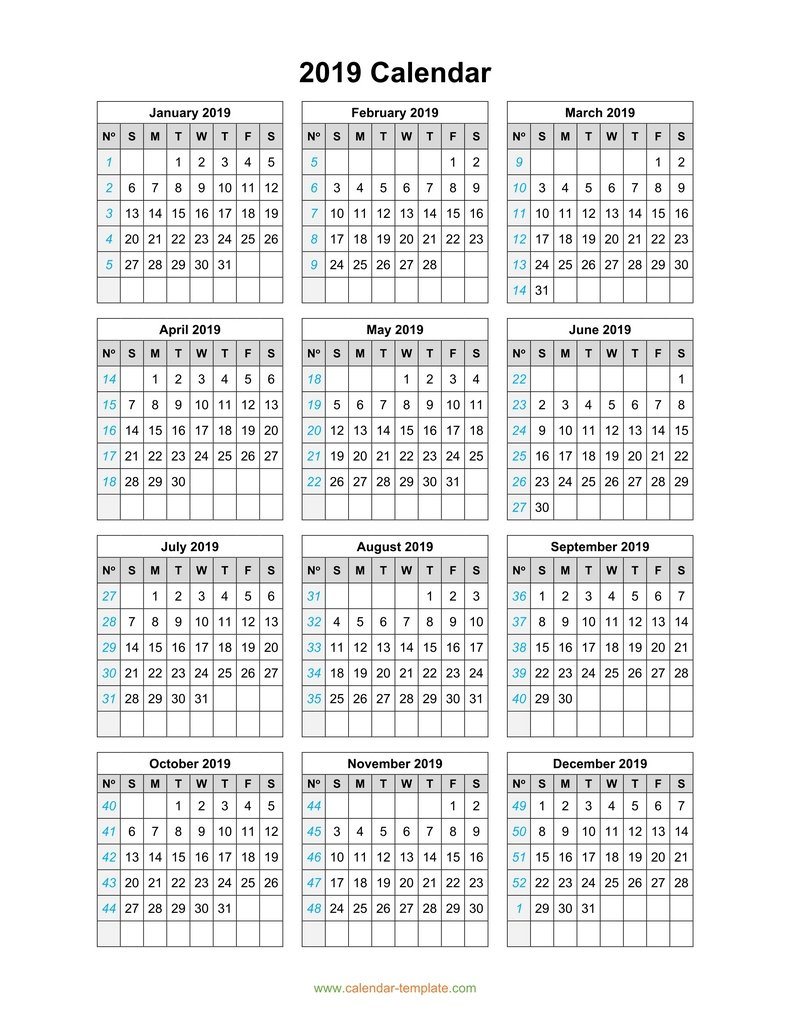 2019 Full Year Calendar Template With On One Page