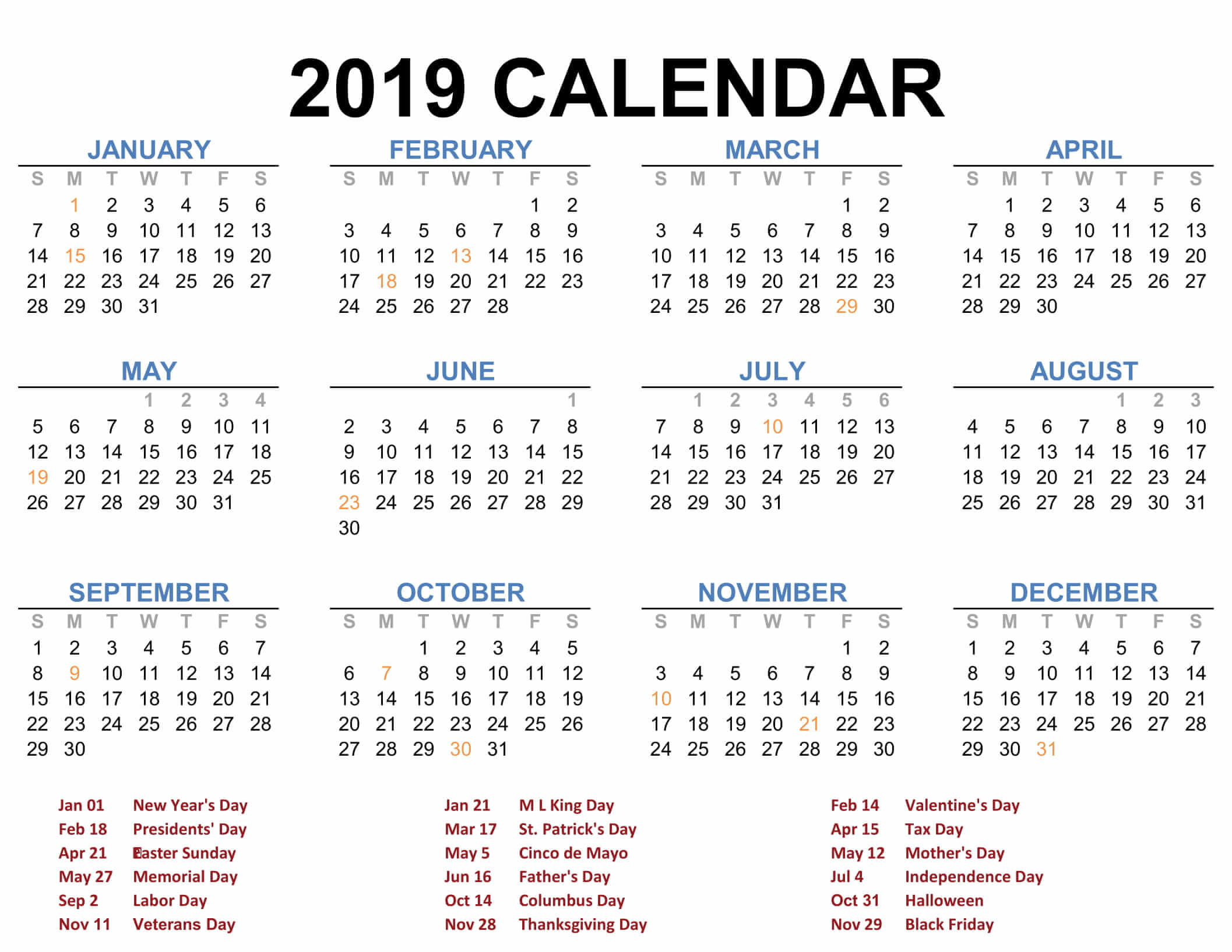 2019 Full Year Calendar Template With Printable Blank Templates Calenndar Com