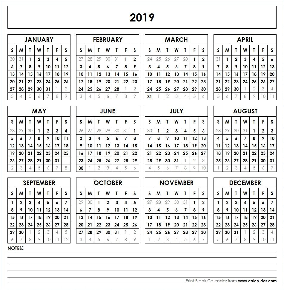 2019 Full Year Calendar Template With Printable Yearly Pinterest