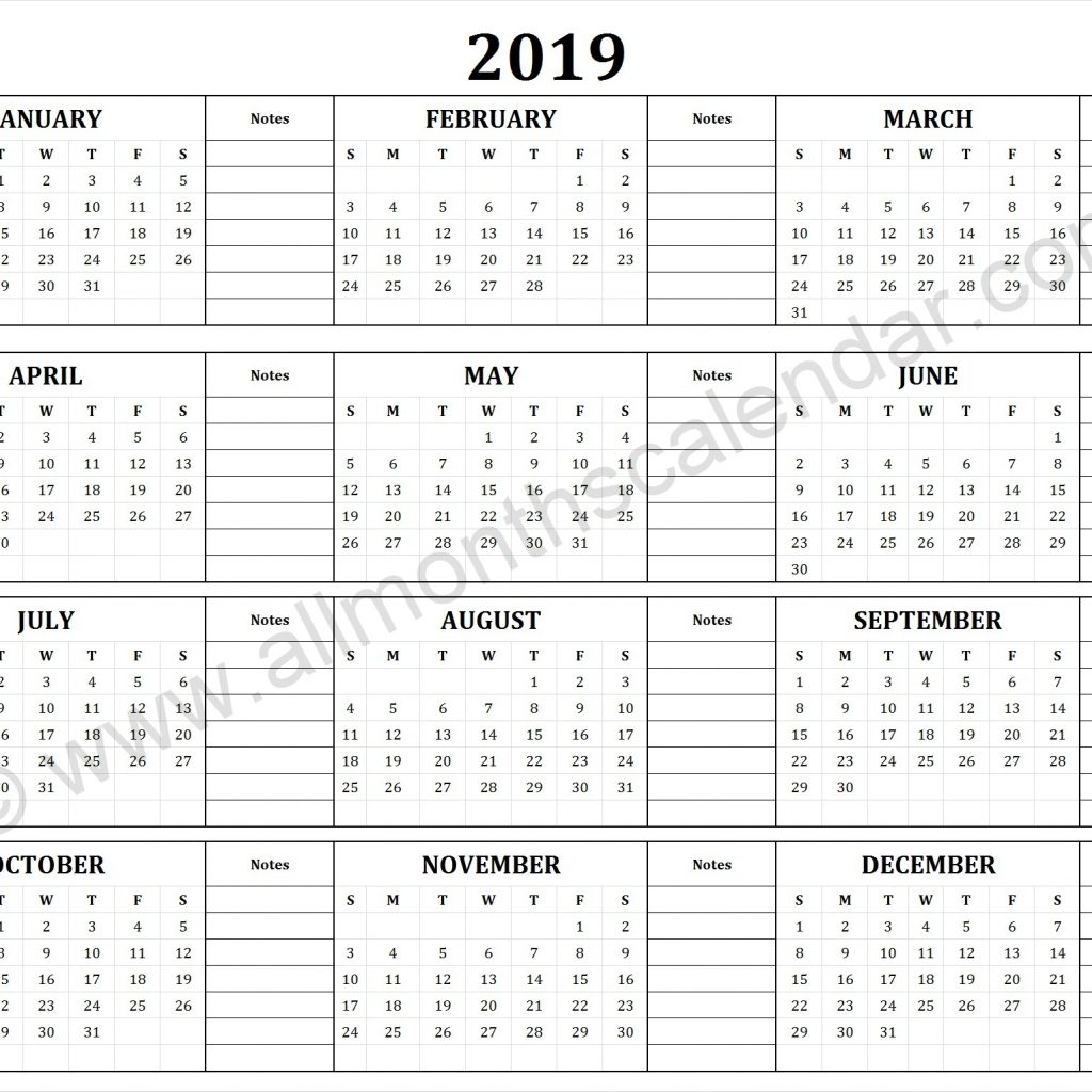 2019 Full Year Calendar Template With Yearly 12 Month Printable