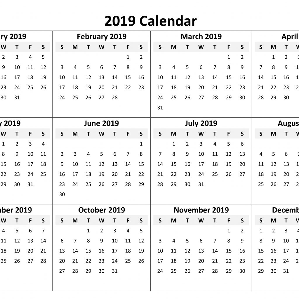 2019 Full Year Calendar With Download Blank Printable Pages Templates July 2018